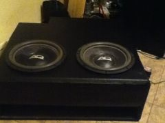 2 audioque hdc a 3 in a 9.2 cubic foot box tuned to 34  hz for my 2003 aurora front view