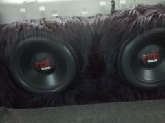 my 2 15 inch evils with black fur carpet in trunk build